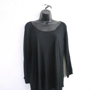 WILFRED FREE Aritzia Baume Black Raglan Long Sleeve Casual Shirt
